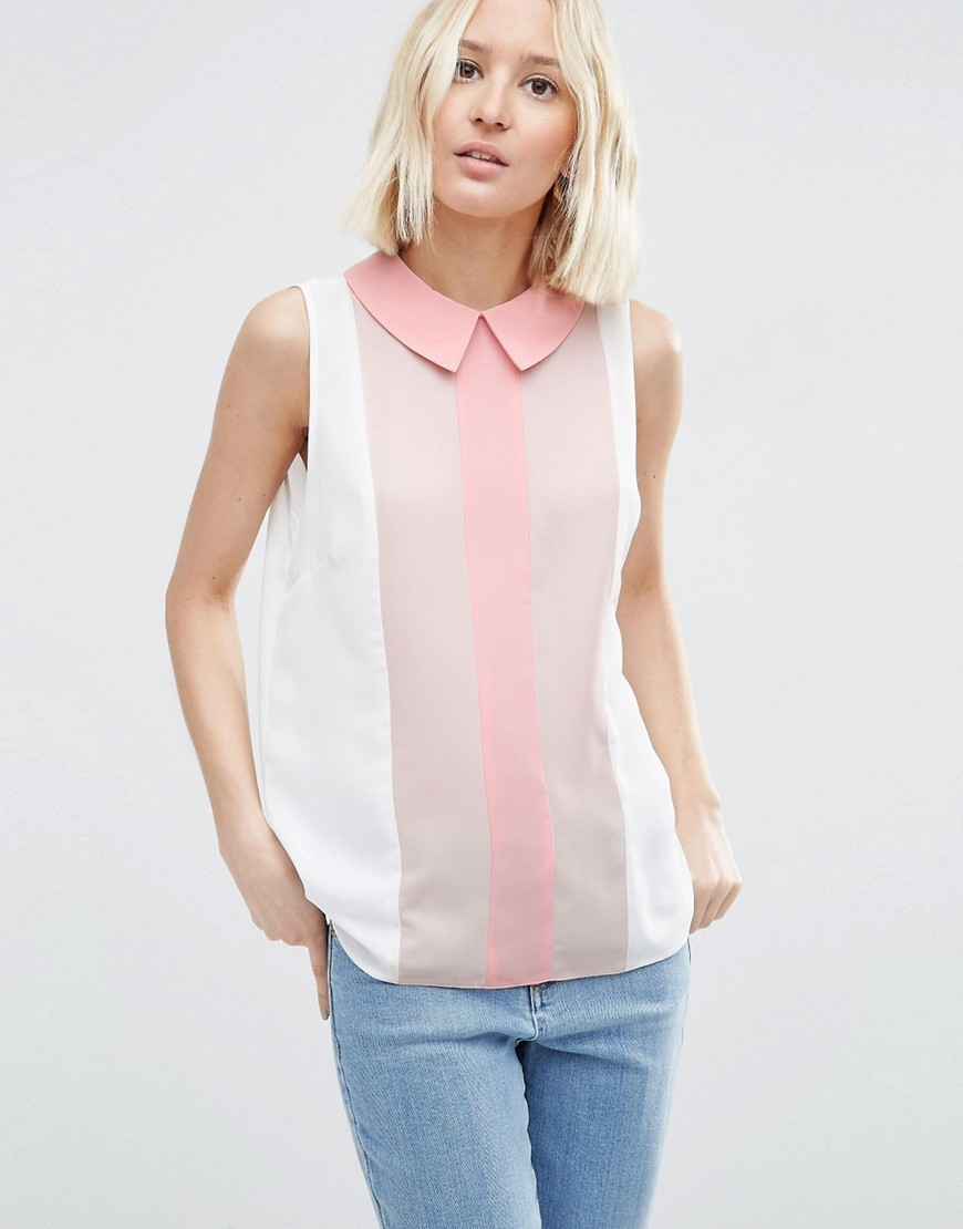 Sleeveless Tunic Blouse In Colour Block Multi - pattern: vertical stripes; sleeve style: sleeveless; style: shirt; predominant colour: white; secondary colour: blush; occasions: casual; length: standard; fibres: polyester/polyamide - 100%; fit: body skimming; neckline: no opening/shirt collar/peter pan; sleeve length: sleeveless; texture group: sheer fabrics/chiffon/organza etc.; pattern type: fabric; multicoloured: multicoloured; season: s/s 2016; wardrobe: highlight