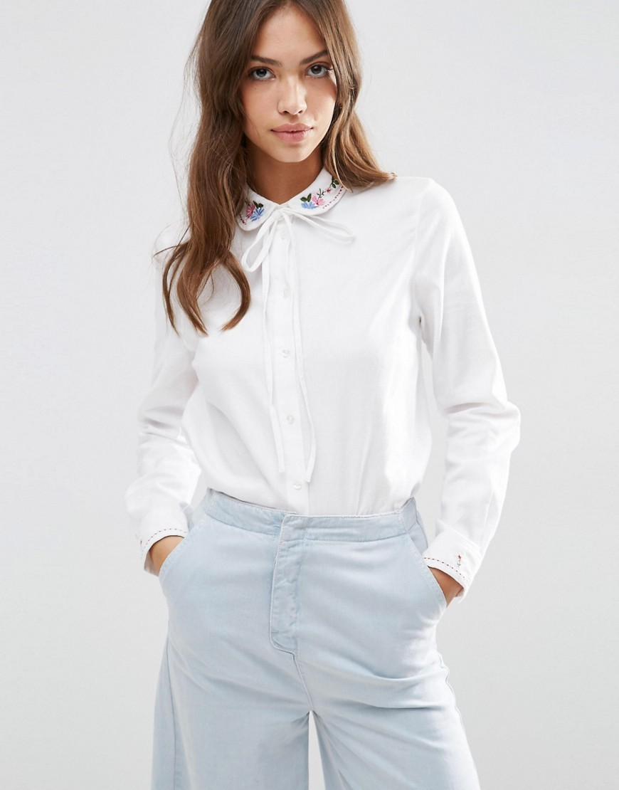 Embroidered Collar Casual Pussy Bow Shirt White - pattern: plain; neckline: pussy bow; style: blouse; predominant colour: white; occasions: casual; length: standard; fibres: cotton - 100%; fit: body skimming; sleeve length: long sleeve; sleeve style: standard; pattern type: fabric; texture group: other - light to midweight; embellishment: embroidered; season: s/s 2016; wardrobe: highlight
