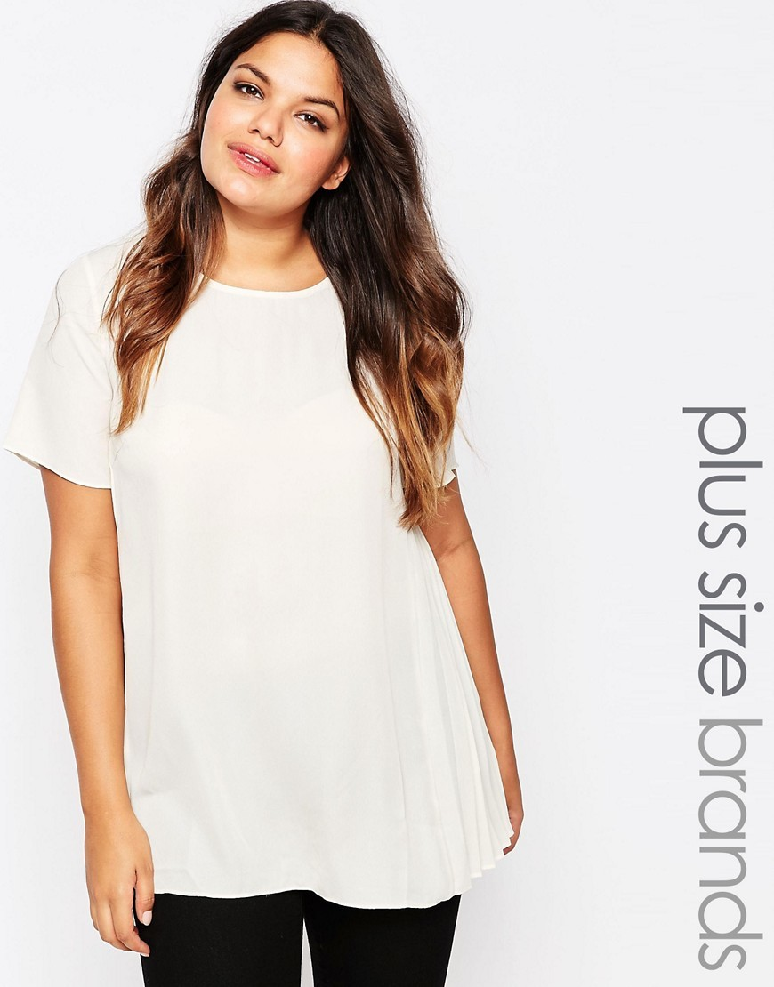 Plus Top With Side Pleats Ivory - pattern: plain; length: below the bottom; style: t-shirt; predominant colour: white; occasions: casual; fibres: polyester/polyamide - 100%; fit: loose; neckline: crew; sleeve length: short sleeve; sleeve style: standard; pattern type: fabric; texture group: jersey - stretchy/drapey; season: s/s 2016; wardrobe: basic