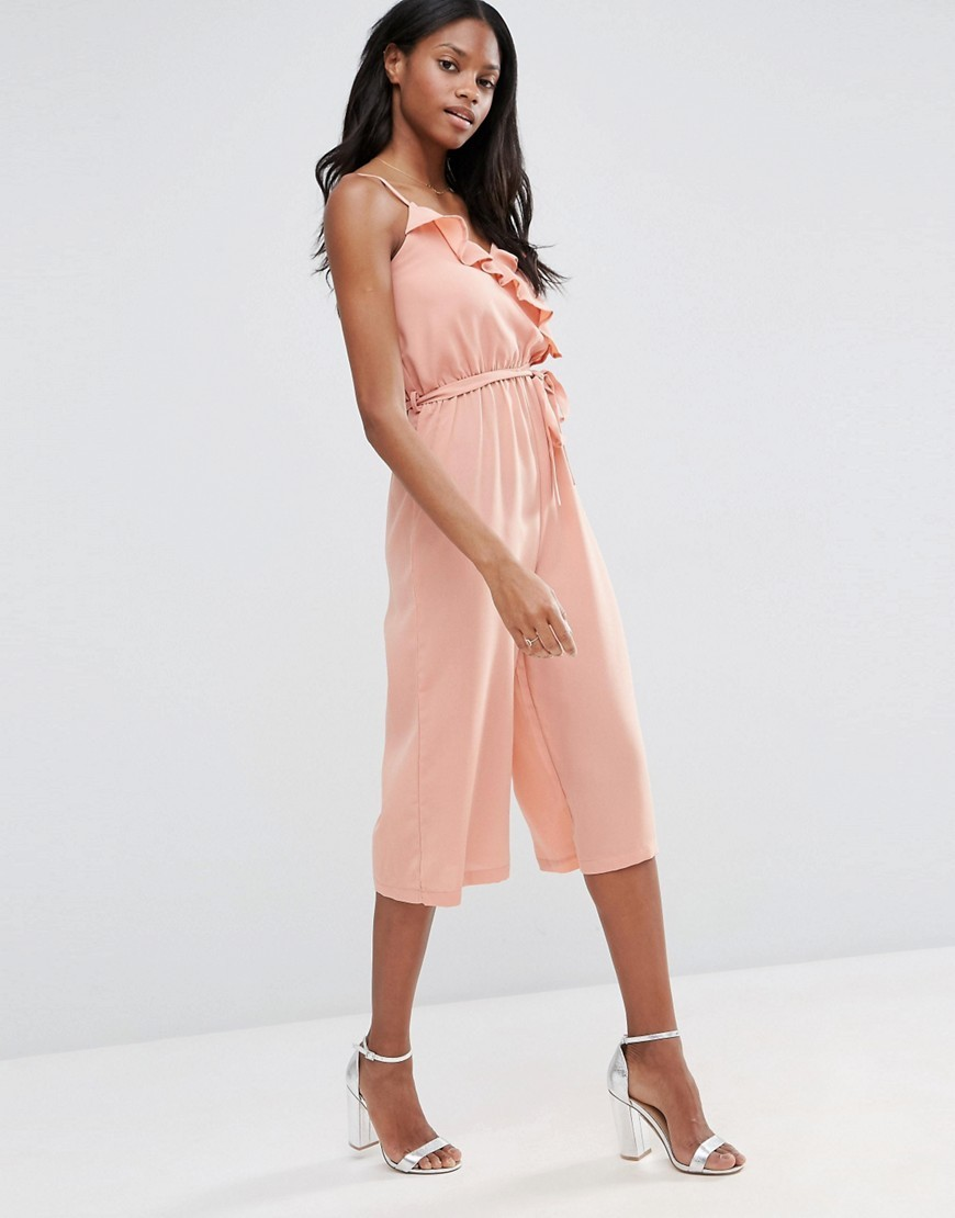 Ruffle Culotte Jumpsuit Rose - neckline: round neck; sleeve style: spaghetti straps; fit: fitted at waist; pattern: plain; predominant colour: coral; occasions: evening; length: calf length; fibres: polyester/polyamide - 100%; sleeve length: sleeveless; style: jumpsuit; bust detail: bulky details at bust; pattern type: fabric; texture group: other - light to midweight; season: s/s 2016; wardrobe: event