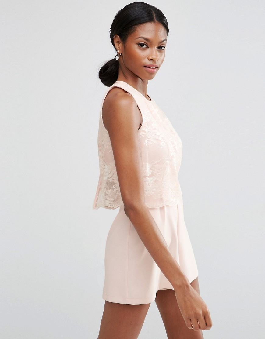Occasion Pretty Lace Overlay Playsuit Blush - neckline: round neck; fit: fitted at waist; pattern: plain; sleeve style: sleeveless; length: short shorts; predominant colour: blush; occasions: casual, holiday; fibres: polyester/polyamide - mix; sleeve length: sleeveless; style: playsuit; pattern type: fabric; texture group: other - light to midweight; season: s/s 2016; wardrobe: holiday