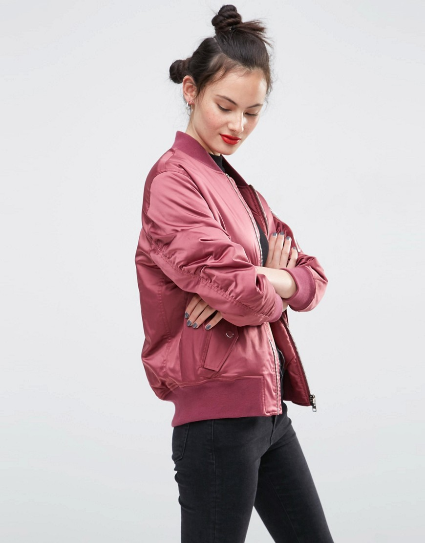 Ultimate Bomber Jacket Berry - pattern: plain; collar: round collar/collarless; style: bomber; occasions: casual; length: standard; fit: straight cut (boxy); fibres: polyester/polyamide - 100%; sleeve length: long sleeve; sleeve style: standard; texture group: structured shiny - satin/tafetta/silk etc.; collar break: high; pattern type: fabric; predominant colour: dusky pink; season: s/s 2016; wardrobe: highlight
