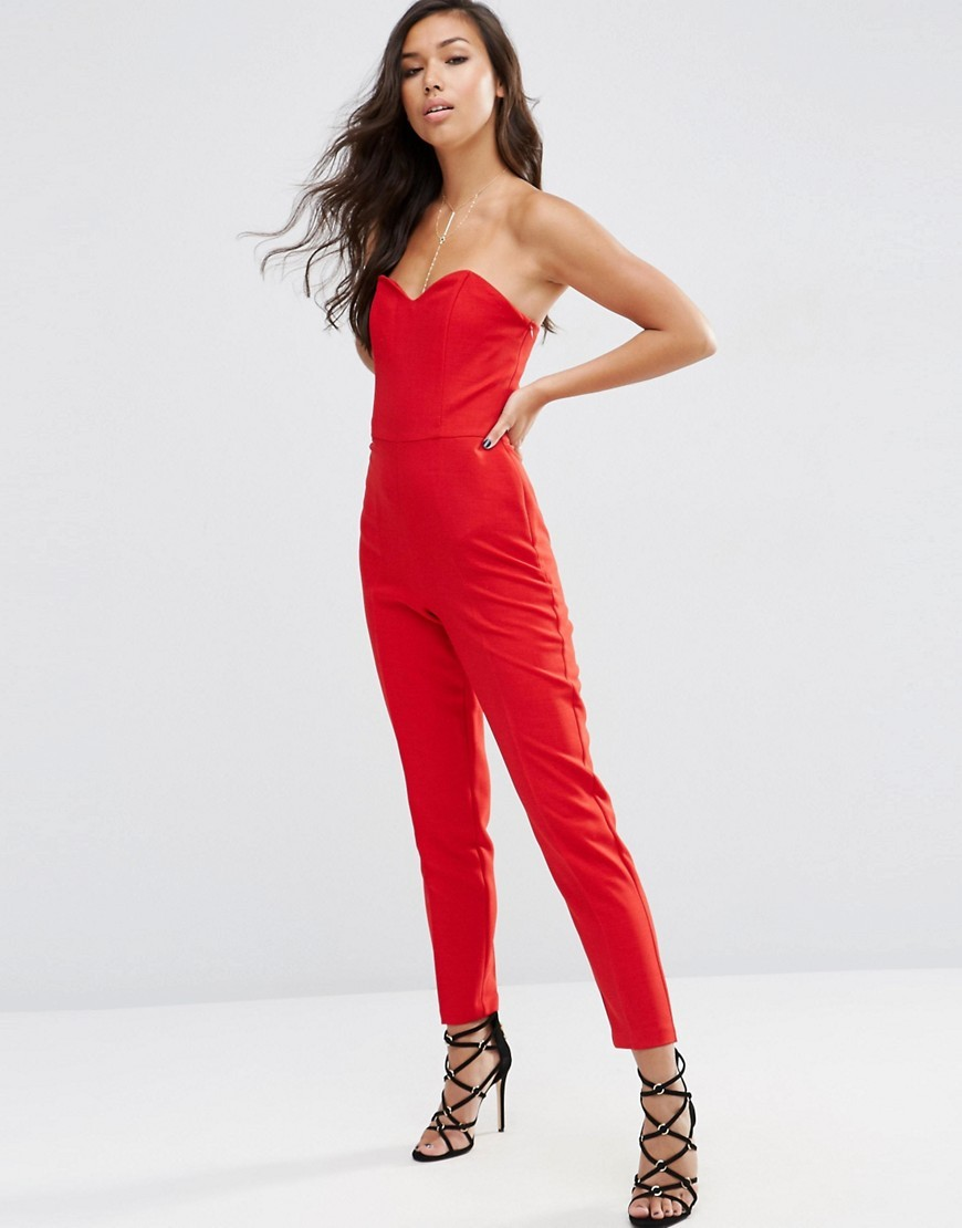 Tailored Bandeau Jumpsuit Red - length: standard; neckline: strapless (straight/sweetheart); fit: tailored/fitted; pattern: plain; sleeve style: strapless; predominant colour: true red; occasions: evening, occasion; fibres: polyester/polyamide - 100%; sleeve length: sleeveless; texture group: crepes; style: jumpsuit; pattern type: fabric; season: s/s 2016; wardrobe: event