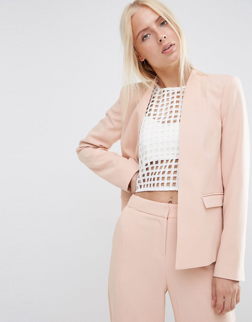 Structured Edge To Edge Blazer Pink Neutral - pattern: plain; style: single breasted blazer; collar: round collar/collarless; length: below the bottom; predominant colour: pink; fit: tailored/fitted; fibres: polyester/polyamide - 100%; sleeve length: long sleeve; sleeve style: standard; collar break: low/open; pattern type: fabric; texture group: other - light to midweight; occasions: creative work; season: s/s 2016; wardrobe: investment