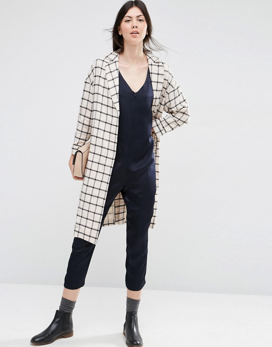 Duster Coat In Check Multi - pattern: checked/gingham; fit: loose; length: on the knee; collar: standard lapel/rever collar; predominant colour: white; secondary colour: black; occasions: casual; sleeve length: long sleeve; sleeve style: standard; collar break: medium; pattern type: fabric; texture group: woven light midweight; fibres: viscose/rayon - mix; multicoloured: multicoloured; style: duster coat; season: s/s 2016; wardrobe: highlight