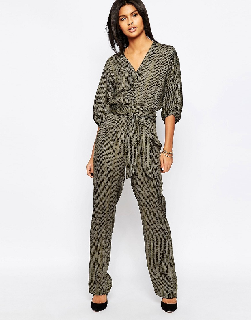 Donny Wrap Front Belted Jumpsuit 706washed Army - length: standard; neckline: v-neck; pattern: plain; waist detail: belted waist/tie at waist/drawstring; predominant colour: khaki; occasions: casual; fit: body skimming; sleeve length: 3/4 length; sleeve style: standard; style: jumpsuit; pattern type: fabric; texture group: other - light to midweight; fibres: viscose/rayon - mix; season: s/s 2016; wardrobe: highlight