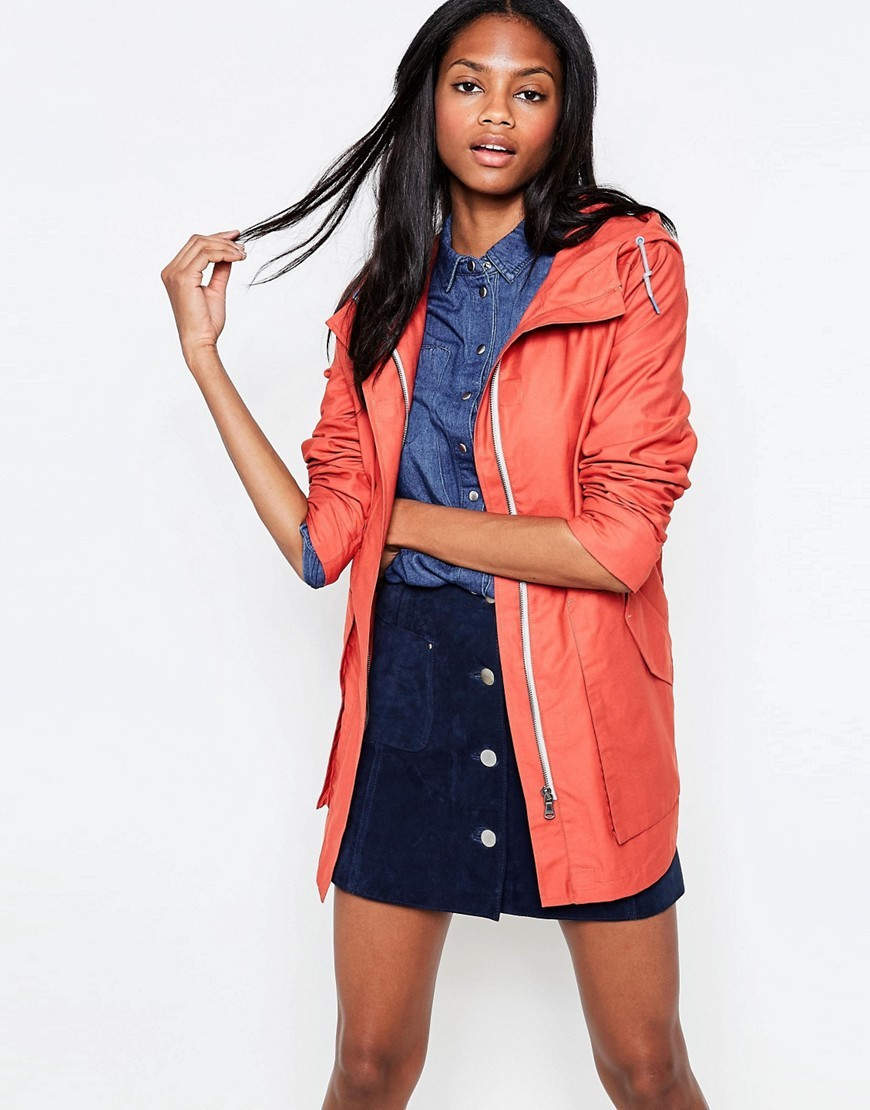 Johanna Classic Raincoat Burnt Orange - pattern: plain; length: below the bottom; style: mac; back detail: hood; collar: high neck; predominant colour: coral; occasions: casual; fit: straight cut (boxy); fibres: cotton - 100%; sleeve length: long sleeve; sleeve style: standard; texture group: technical outdoor fabrics; collar break: high; pattern type: fabric; season: s/s 2016; wardrobe: highlight