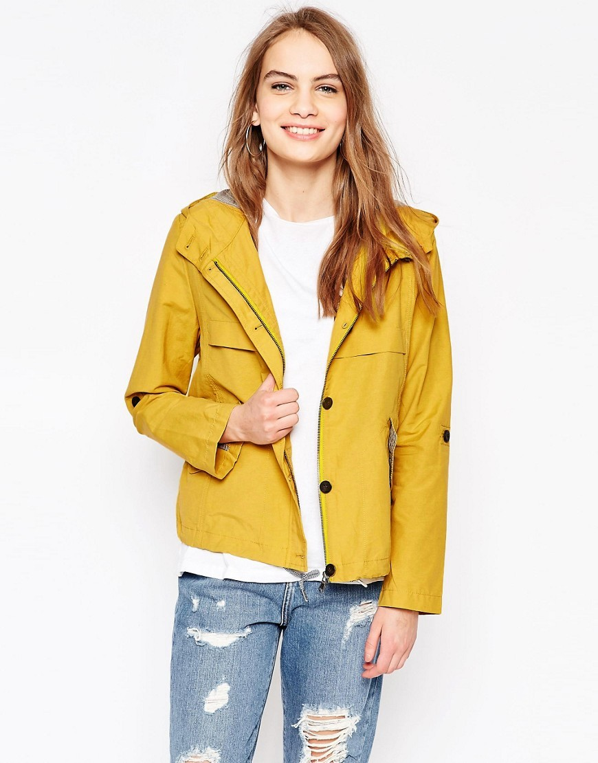Anja Nylon Crop Parka Sulphur - pattern: plain; length: standard; collar: funnel; fit: loose; style: parka; back detail: hood; predominant colour: yellow; occasions: casual; fibres: nylon - 100%; sleeve length: long sleeve; sleeve style: standard; texture group: technical outdoor fabrics; collar break: high; pattern type: fabric; season: s/s 2016; wardrobe: highlight; embellishment location: hip