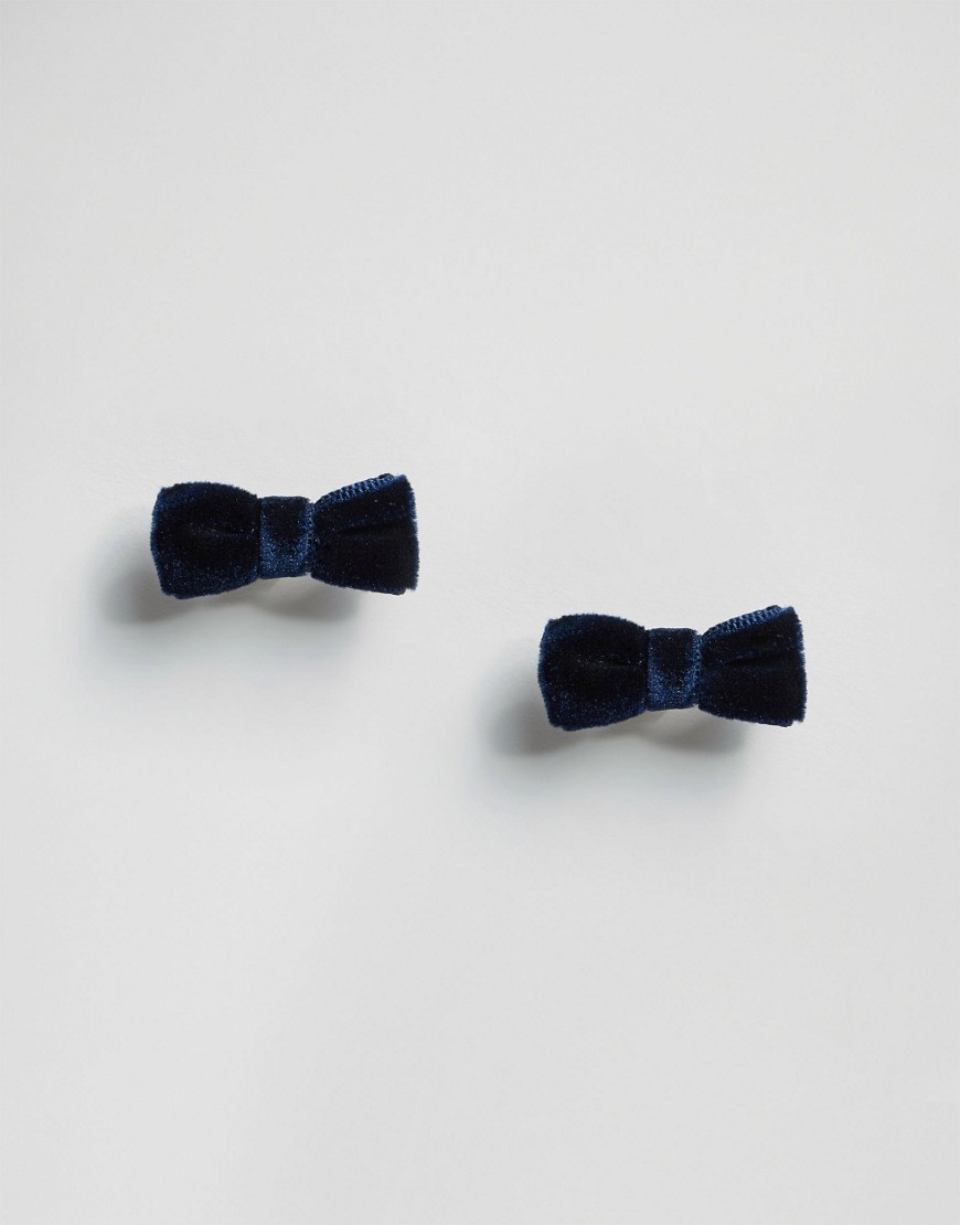 Limited Edition Soft Velvet Bow Stud Earrings Navy - predominant colour: navy; occasions: casual; style: stud; length: short; size: small; fastening: pierced; finish: plain; embellishment: bow; material: faux suede; season: s/s 2016; wardrobe: highlight