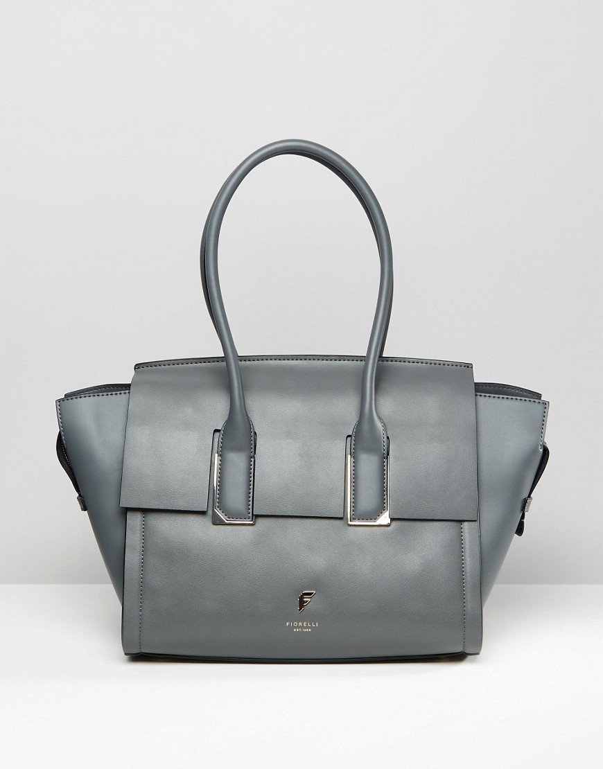 Hudson Winged Tote Bag Hudson Grey - predominant colour: mid grey; type of pattern: standard; style: tote; length: handle; size: standard; material: leather; pattern: plain; finish: plain; occasions: creative work; season: s/s 2016; wardrobe: investment