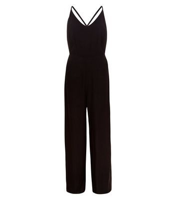 Black Strappy Wide Leg Jumpsuit - length: standard; neckline: v-neck; sleeve style: spaghetti straps; pattern: plain; predominant colour: black; occasions: evening; fit: body skimming; fibres: viscose/rayon - 100%; back detail: crossover; sleeve length: sleeveless; style: jumpsuit; pattern type: fabric; texture group: jersey - stretchy/drapey; season: s/s 2016