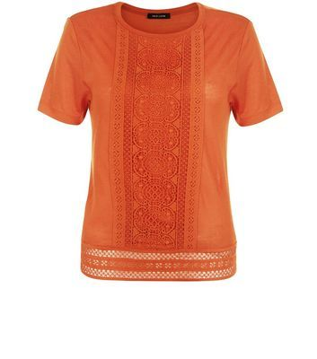 Bright Orange Crochet Trim T Shirt - pattern: plain; style: t-shirt; predominant colour: bright orange; occasions: casual; length: standard; fibres: viscose/rayon - 100%; fit: body skimming; neckline: crew; sleeve length: short sleeve; sleeve style: standard; texture group: cotton feel fabrics; pattern type: fabric; embellishment: lace; season: s/s 2016; wardrobe: highlight