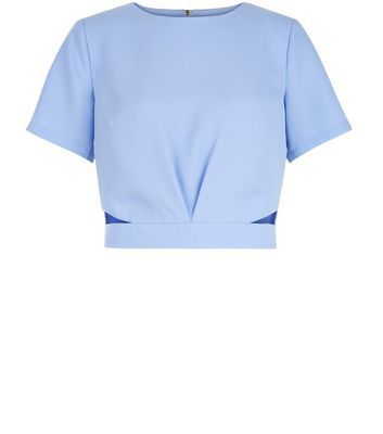 Light Blue Crepe Cut Out Crop Top - neckline: round neck; pattern: plain; length: cropped; predominant colour: pale blue; occasions: casual, evening; style: top; fibres: polyester/polyamide - 100%; fit: tight; sleeve length: short sleeve; sleeve style: standard; texture group: crepes; pattern type: fabric; season: s/s 2016; wardrobe: highlight