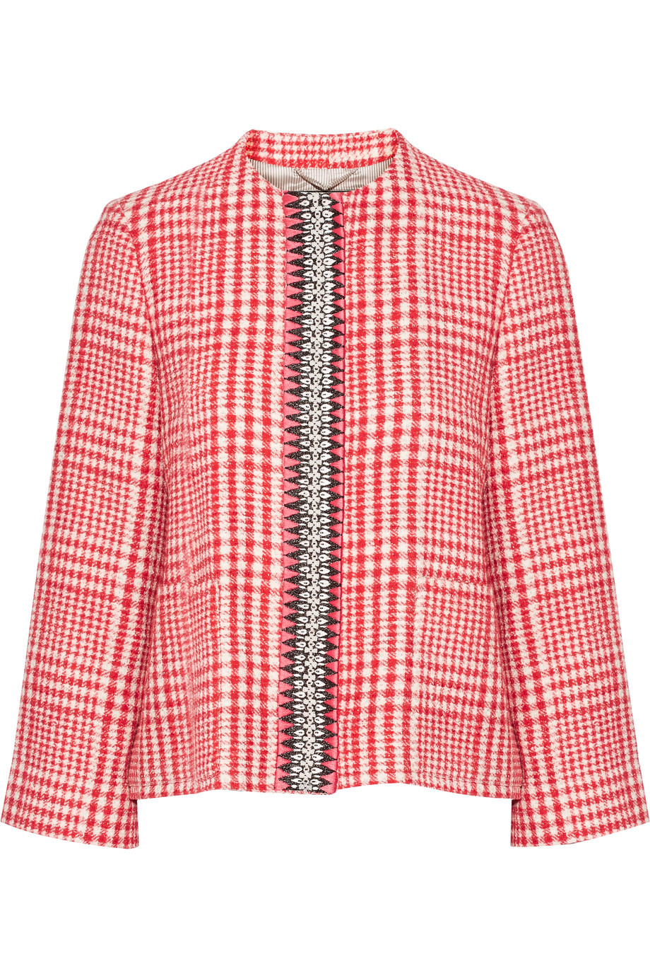 Embellished Cotton Blend Tweed Jacket Red - collar: round collar/collarless; style: boxy; pattern: herringbone/tweed; secondary colour: ivory/cream; predominant colour: true red; occasions: casual, creative work; length: standard; fit: straight cut (boxy); fibres: wool - mix; sleeve length: long sleeve; sleeve style: standard; collar break: high; pattern type: fabric; pattern size: light/subtle; texture group: tweed - light/midweight; season: s/s 2016