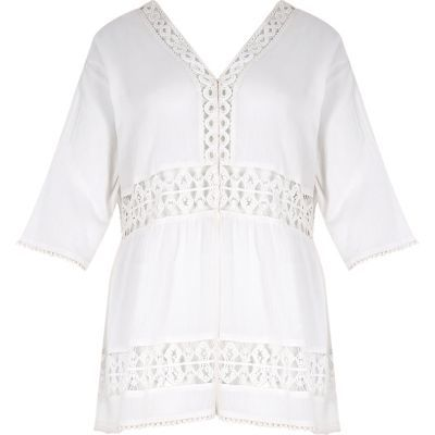 Womens Ri Plus White Lace Festival Cover Up - neckline: v-neck; pattern: plain; length: below the bottom; style: kaftan; shoulder detail: contrast pattern/fabric at shoulder; predominant colour: white; fibres: cotton - 100%; fit: loose; sleeve length: 3/4 length; sleeve style: standard; texture group: cotton feel fabrics; occasions: holiday; pattern type: fabric; embellishment: lace; season: s/s 2016