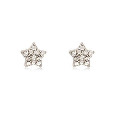 Womens White Silver Tone Star Stud Earrings - predominant colour: silver; occasions: evening, occasion; style: stud; length: short; size: small/fine; material: chain/metal; fastening: pierced; finish: plain; embellishment: crystals/glass; season: s/s 2016; wardrobe: event