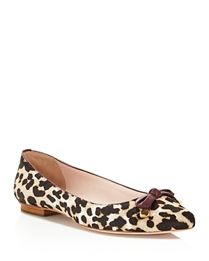 Emma Leopard Print Calf Hair Bow Flats - predominant colour: ivory/cream; secondary colour: chocolate brown; occasions: casual; material: animal skin; heel height: flat; toe: pointed toe; style: ballerinas / pumps; finish: plain; pattern: animal print; embellishment: bow; multicoloured: multicoloured; season: s/s 2016; wardrobe: highlight