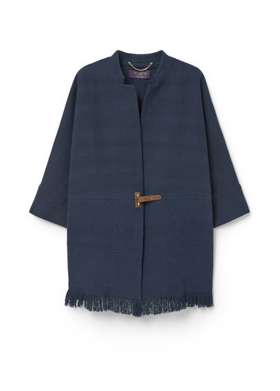 Jacquard Cotton Jacket - sleeve style: dolman/batwing; pattern: plain; collar: round collar/collarless; fit: loose; predominant colour: navy; occasions: casual; fibres: cotton - 100%; length: mid thigh; sleeve length: 3/4 length; texture group: cotton feel fabrics; collar break: medium; pattern type: fabric; style: fluid/kimono; season: s/s 2016; wardrobe: basic