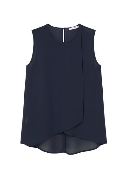 Double Layer Blouse - neckline: round neck; pattern: plain; sleeve style: sleeveless; style: blouse; predominant colour: navy; occasions: casual, work, creative work; length: standard; fibres: polyester/polyamide - 100%; fit: loose; back detail: longer hem at back than at front; sleeve length: sleeveless; texture group: crepes; pattern type: fabric; season: s/s 2016; wardrobe: basic