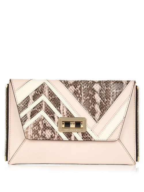 440 Gallery Secret Agent Zip On Clutch - predominant colour: blush; occasions: evening, occasion; type of pattern: standard; style: clutch; length: hand carry; size: standard; material: leather; pattern: animal print; finish: plain; season: s/s 2016