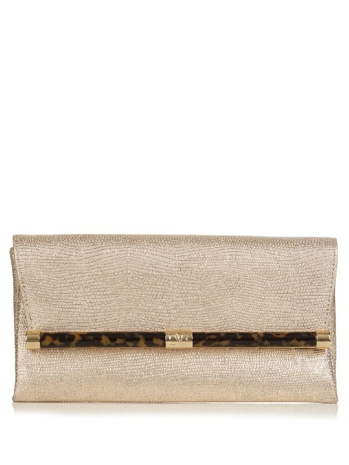 440 Envelope Clutch - predominant colour: gold; occasions: evening, occasion; type of pattern: standard; style: clutch; length: hand carry; size: standard; material: leather; pattern: plain; finish: metallic; season: s/s 2016; wardrobe: event