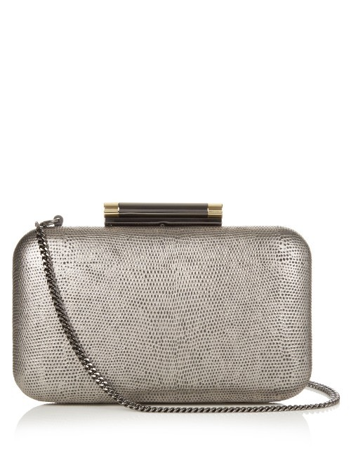 Slim Tonda Minaudière Clutch - predominant colour: silver; occasions: evening, occasion; type of pattern: standard; style: clutch; length: hand carry; size: small; material: leather; pattern: plain; finish: metallic; season: s/s 2016; wardrobe: event