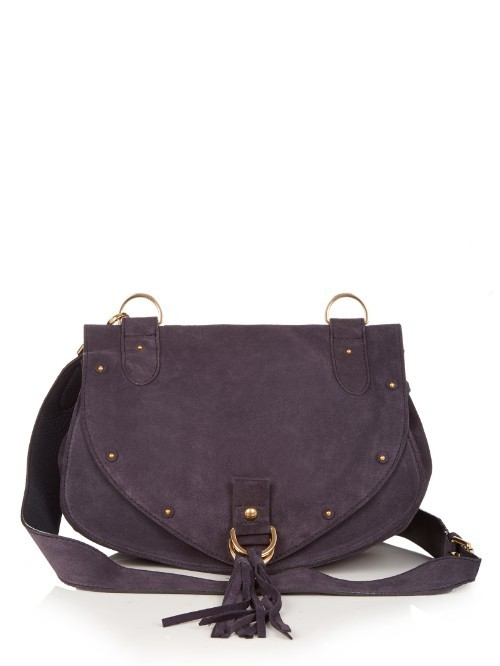Collins Medium Leather And Suede Cross Body Bag - predominant colour: navy; secondary colour: gold; occasions: casual, creative work; type of pattern: standard; style: satchel; length: across body/long; size: standard; material: leather; embellishment: tassels; pattern: plain; finish: plain; season: s/s 2016