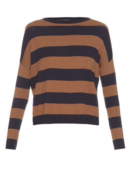 Hidesia Sweater - sleeve style: dolman/batwing; pattern: horizontal stripes; style: standard; predominant colour: navy; secondary colour: tan; occasions: casual; length: standard; fibres: cotton - mix; fit: loose; neckline: crew; sleeve length: long sleeve; texture group: knits/crochet; pattern type: knitted - fine stitch; season: s/s 2016; wardrobe: highlight