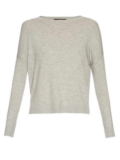 Hidesia Sweater - style: standard; predominant colour: light grey; occasions: casual, creative work; length: standard; fibres: cotton - mix; fit: standard fit; neckline: crew; shoulder detail: bulky shoulder detail; sleeve length: long sleeve; sleeve style: standard; texture group: knits/crochet; pattern type: knitted - fine stitch; pattern size: light/subtle; pattern: marl; season: s/s 2016; wardrobe: highlight