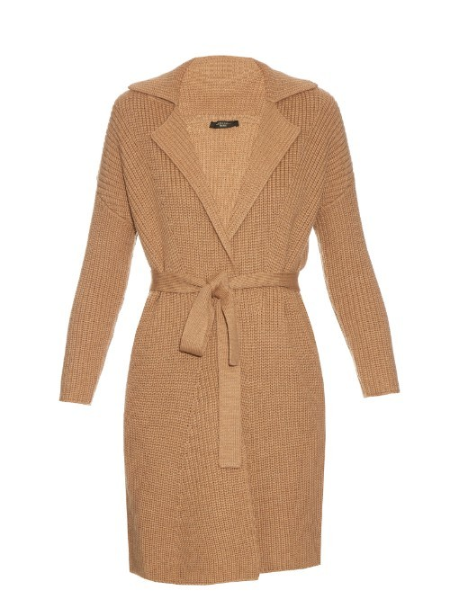 Madera Cardigan - neckline: low v-neck; pattern: plain; style: wrap; predominant colour: camel; occasions: casual, work, creative work; fibres: wool - 100%; fit: standard fit; length: mid thigh; waist detail: belted waist/tie at waist/drawstring; sleeve length: long sleeve; sleeve style: standard; texture group: knits/crochet; pattern type: knitted - fine stitch; season: s/s 2016; wardrobe: basic