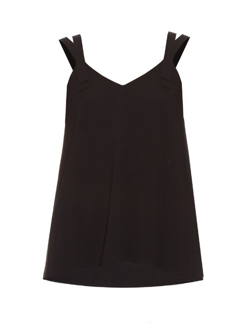Double Strap Crepe Cami Top - neckline: low v-neck; sleeve style: spaghetti straps; pattern: plain; style: camisole; predominant colour: black; occasions: evening; length: standard; fibres: silk - 100%; fit: straight cut; sleeve length: sleeveless; texture group: crepes; pattern type: fabric; season: s/s 2016