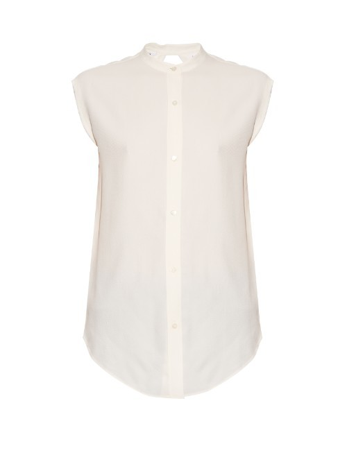 Back Knot Shirt - sleeve style: capped; pattern: plain; style: shirt; predominant colour: ivory/cream; occasions: casual, creative work; length: standard; neckline: collarstand; fibres: silk - 100%; fit: body skimming; sleeve length: short sleeve; texture group: silky - light; pattern type: fabric; season: s/s 2016; wardrobe: basic