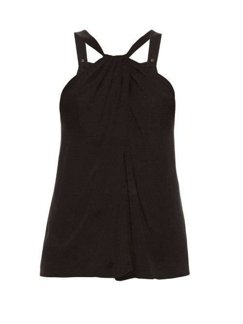 Lilita Top - pattern: plain; sleeve style: sleeveless; predominant colour: black; occasions: evening; length: standard; style: top; fibres: silk - 100%; fit: body skimming; sleeve length: sleeveless; pattern type: fabric; texture group: jersey - stretchy/drapey; season: s/s 2016; neckline: high halter neck; wardrobe: event