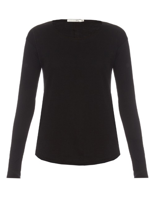 Slacker Long Sleeved Cotton T Shirt - neckline: round neck; pattern: plain; length: below the bottom; predominant colour: black; occasions: casual, creative work; style: top; fibres: cotton - 100%; fit: body skimming; sleeve length: long sleeve; sleeve style: standard; pattern type: fabric; texture group: jersey - stretchy/drapey; season: s/s 2016; wardrobe: basic