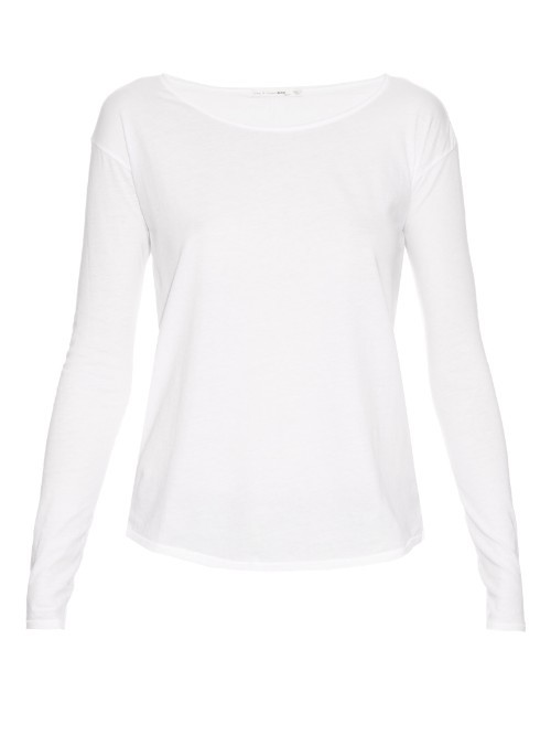 Slacker Long Sleeved Cotton T Shirt - pattern: plain; style: t-shirt; predominant colour: white; occasions: casual; length: standard; neckline: scoop; fibres: cotton - stretch; fit: body skimming; sleeve length: long sleeve; sleeve style: standard; texture group: jersey - clingy; pattern type: fabric; season: s/s 2016; wardrobe: basic