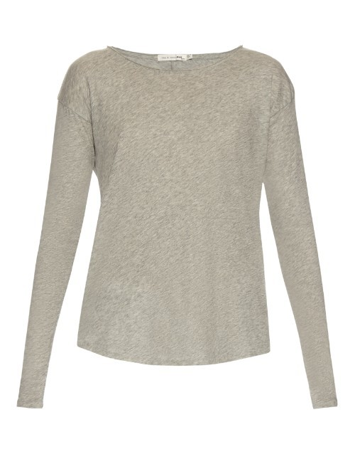 Slacker Long Sleeved Cotton T Shirt - style: t-shirt; predominant colour: taupe; occasions: casual, creative work; length: standard; fibres: cotton - stretch; fit: body skimming; neckline: crew; sleeve length: long sleeve; sleeve style: standard; pattern type: fabric; pattern size: light/subtle; texture group: jersey - stretchy/drapey; pattern: marl; season: s/s 2016; wardrobe: basic