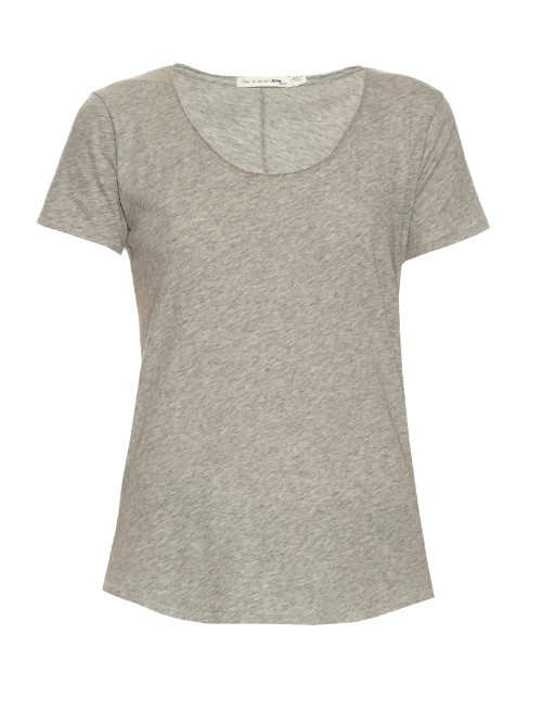 Slacker Short Sleeved Cotton T Shirt - pattern: plain; style: t-shirt; predominant colour: light grey; occasions: casual; length: standard; fibres: cotton - 100%; fit: body skimming; neckline: crew; sleeve length: short sleeve; sleeve style: standard; pattern type: fabric; texture group: jersey - stretchy/drapey; season: s/s 2016; wardrobe: basic