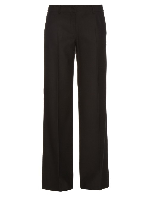 Tenue Trousers - length: standard; pattern: plain; waist: mid/regular rise; predominant colour: black; occasions: work; fibres: wool - stretch; fit: straight leg; pattern type: fabric; texture group: other - light to midweight; style: standard; season: s/s 2016; wardrobe: basic