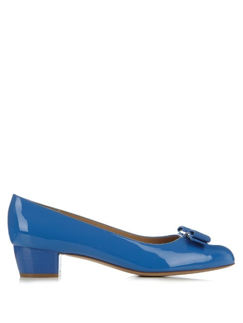Vara C Patent Leather Pumps - predominant colour: diva blue; material: leather; heel height: mid; heel: block; toe: round toe; style: courts; finish: patent; pattern: plain; embellishment: bow; occasions: creative work; season: s/s 2016; wardrobe: highlight
