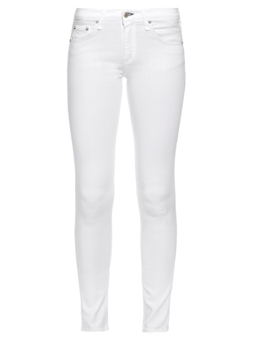 Mid Rise Skinny Jeans - style: skinny leg; length: standard; pattern: plain; pocket detail: traditional 5 pocket; waist: mid/regular rise; predominant colour: white; occasions: casual; fibres: cotton - stretch; texture group: denim; pattern type: fabric; season: s/s 2016; wardrobe: highlight