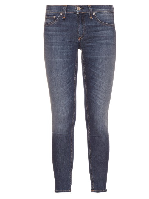Capri Mid Rise Skinny Jeans - style: skinny leg; pattern: plain; pocket detail: traditional 5 pocket; waist: mid/regular rise; predominant colour: navy; occasions: casual; length: calf length; fibres: cotton - stretch; jeans detail: whiskering; texture group: denim; pattern type: fabric; season: s/s 2016