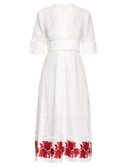 Roza Embroidered Hem Linen Dress - style: shift; length: below the knee; neckline: v-neck; predominant colour: ivory/cream; secondary colour: true red; occasions: evening; fit: body skimming; fibres: linen - 100%; waist detail: feature waist detail; sleeve length: short sleeve; sleeve style: standard; texture group: linen; pattern type: fabric; pattern: florals; embellishment: embroidered; multicoloured: multicoloured; season: s/s 2016; wardrobe: event; embellishment location: hem