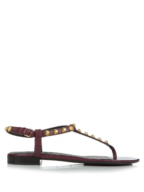 Giant Studded T Bar Leather Sandals - predominant colour: burgundy; occasions: casual, holiday; material: leather; heel height: flat; embellishment: studs; ankle detail: ankle strap; heel: block; toe: toe thongs; style: strappy; finish: plain; pattern: plain; season: s/s 2016; wardrobe: highlight