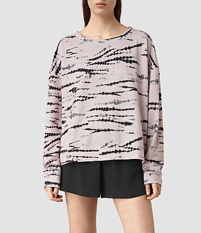 Lo Tye Sweatshirt - neckline: round neck; sleeve style: dolman/batwing; style: sweat top; predominant colour: blush; secondary colour: black; occasions: casual, creative work; length: standard; fibres: cotton - 100%; fit: straight cut; sleeve length: long sleeve; pattern type: fabric; pattern size: standard; pattern: patterned/print; texture group: jersey - stretchy/drapey; season: s/s 2016; wardrobe: highlight