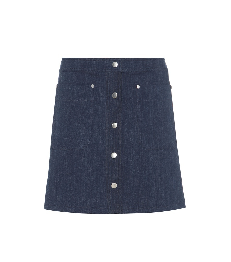 Siggy Denim Miniskirt - length: mid thigh; pattern: plain; fit: loose/voluminous; waist: mid/regular rise; predominant colour: navy; occasions: casual, creative work; style: a-line; fibres: cotton - 100%; texture group: denim; pattern type: fabric; season: s/s 2016; wardrobe: basic