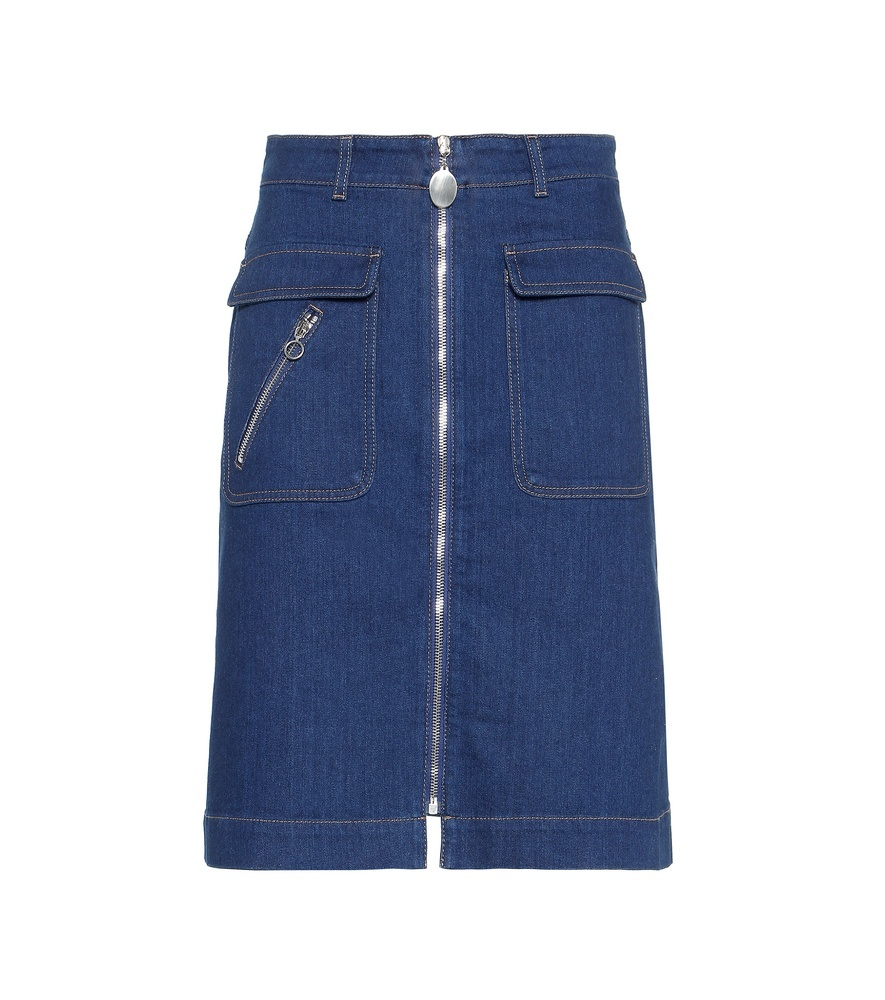 Denim Skirt - pattern: plain; style: straight; waist: high rise; predominant colour: navy; occasions: casual, creative work; length: just above the knee; fibres: cotton - 100%; hip detail: subtle/flattering hip detail; texture group: denim; fit: straight cut; pattern type: fabric; embellishment: zips; season: s/s 2016; wardrobe: highlight; embellishment location: hem, waist