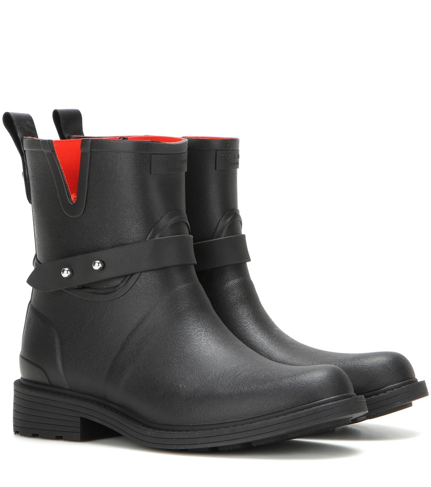 Moto Rain Rubber Boots - predominant colour: black; occasions: casual; material: plastic/rubber; heel height: flat; heel: block; toe: round toe; boot length: ankle boot; style: wellies; finish: plain; pattern: plain; season: s/s 2016; wardrobe: highlight