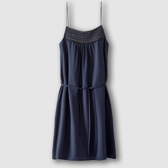 Tie Waist Mini Dress - length: mid thigh; neckline: round neck; sleeve style: spaghetti straps; pattern: plain; waist detail: belted waist/tie at waist/drawstring; predominant colour: navy; occasions: evening; fit: body skimming; style: slip dress; fibres: polyester/polyamide - 100%; sleeve length: sleeveless; pattern type: fabric; texture group: jersey - stretchy/drapey; season: s/s 2016; wardrobe: event