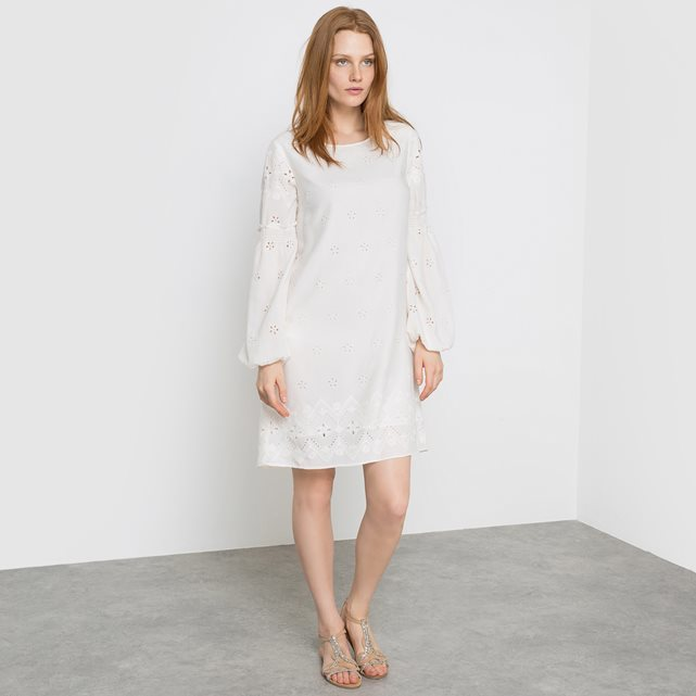 Vispy Dress Long Sleeved Dress - style: shift; pattern: plain; predominant colour: ivory/cream; occasions: casual; length: just above the knee; fit: body skimming; fibres: viscose/rayon - 100%; neckline: crew; sleeve length: long sleeve; sleeve style: standard; pattern type: fabric; texture group: other - light to midweight; season: s/s 2016; wardrobe: basic