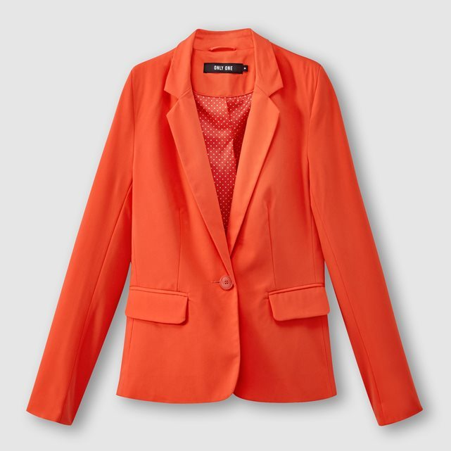 Blazer Style Jacket With Pockets - pattern: plain; style: single breasted blazer; collar: standard lapel/rever collar; predominant colour: bright orange; occasions: casual, creative work; length: standard; fit: tailored/fitted; fibres: polyester/polyamide - stretch; sleeve length: long sleeve; sleeve style: standard; collar break: medium; pattern type: fabric; texture group: woven light midweight; season: s/s 2016; wardrobe: highlight